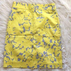 NWOT J. Crew Yellow Grey Floral Pencil Skirt
